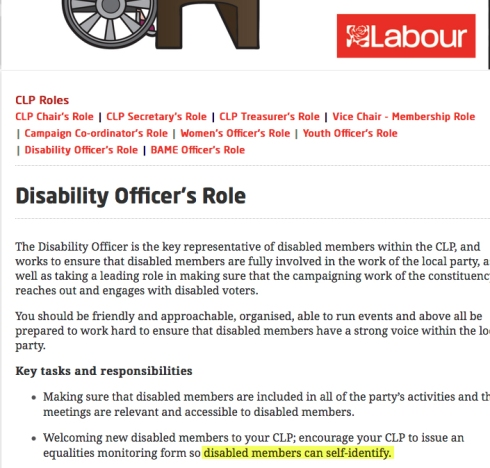 Labour disabled self-ID
